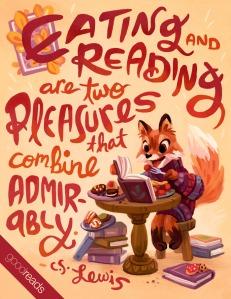 Comer e ler são dois prazeres que eu combino admiravelmente. Via: Goodreads.